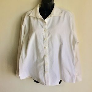 Lands End White Corduroy Shirt Jacket Size 18